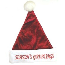 "Red Glitter Plush Santa Hat ""Season's Greetings"""